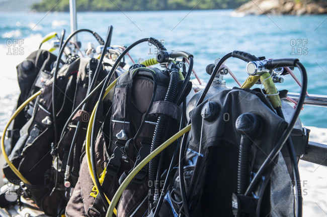 Scuba diving gear ready set up for a dive at Ilha Grande