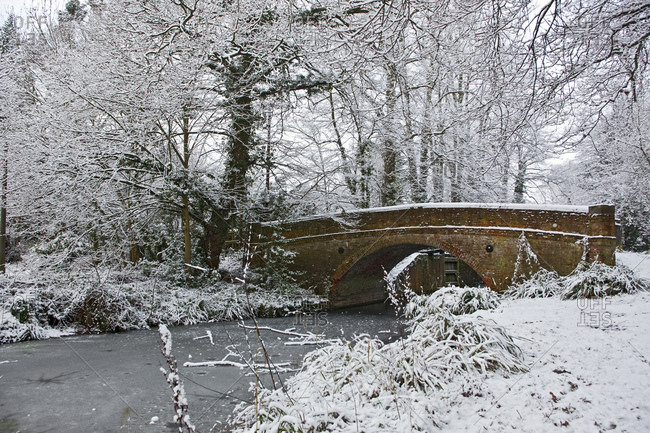 Bridge over the frozen Basingstoke canal in south England