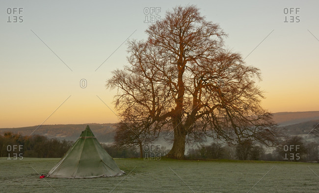 Frosty tent on a field in South Wales