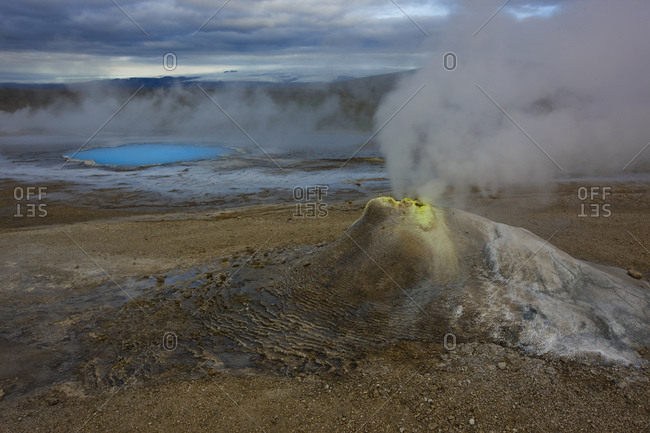 Geyser at the geothermal area at Hveravellir in the center of Iceland