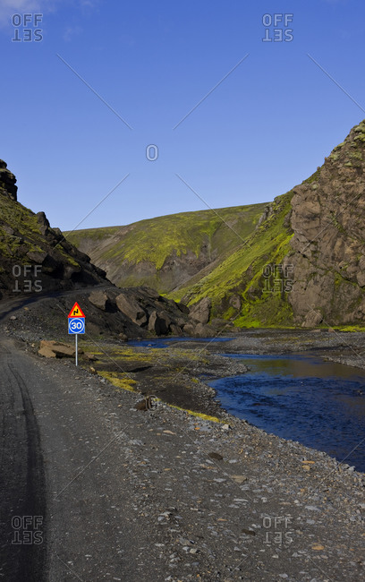 Dirt road in the Icelandic highlands - Fjallabak area