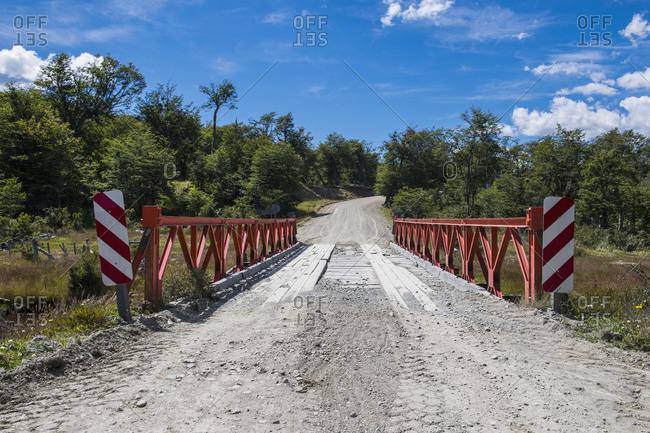 Simple bridge on Tierra del Fuego in Argentina