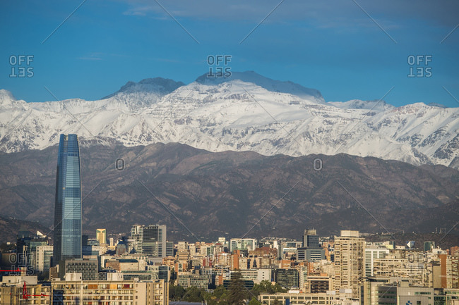 December 27, 2016: Elevated view of Santiago de Chile in the evening