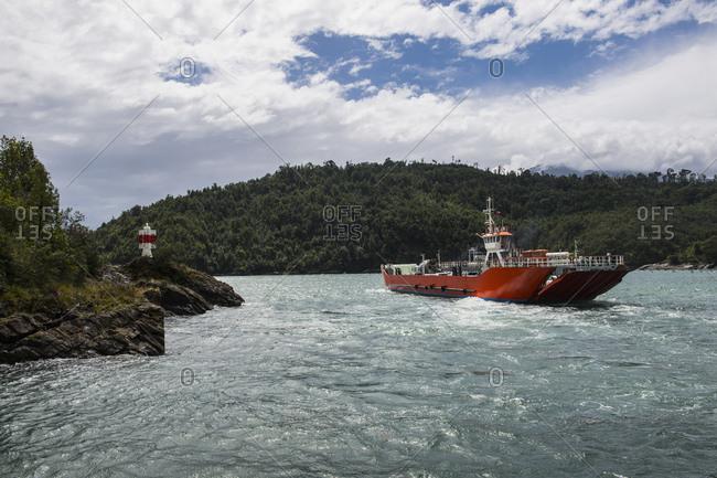Public ferry in the Los Lagos region in Patagonia