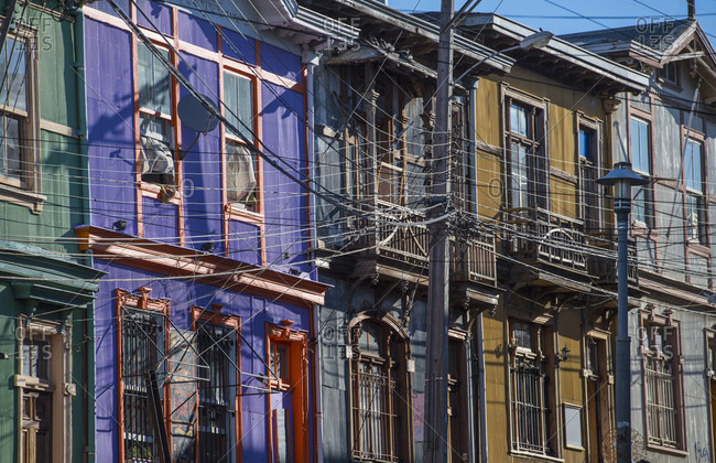 December 23, 2016: Colorful residential houses in Valparaiso in Chile