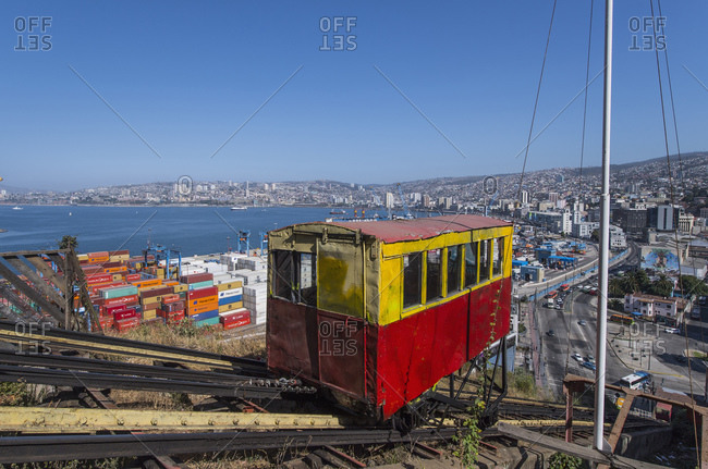 December 24, 2016: Funicular on mountainside, Valparaiso, Chile