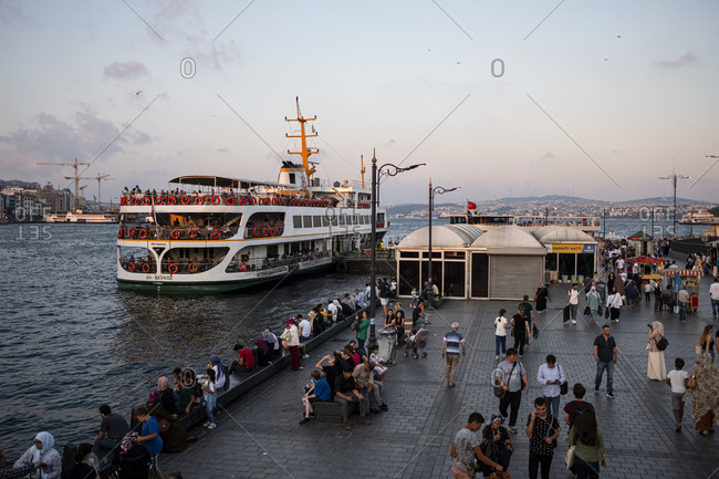 Istanbul, Turkey - September 4, 2019: Istanbul ferry about to depart from Eminonu