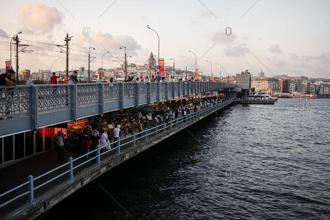 Istanbul, Turkey - September 4, 2019: Crowds at Galata Bridge