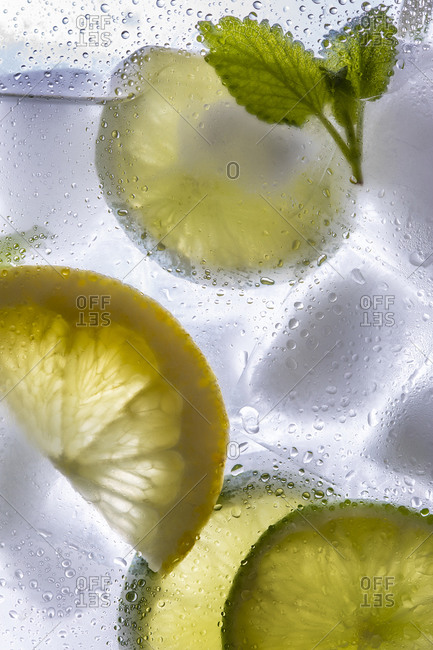 Close up of a summery cocktail with lemon, lime and mint