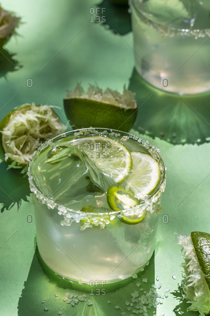 Margarita with lime and jalapeno