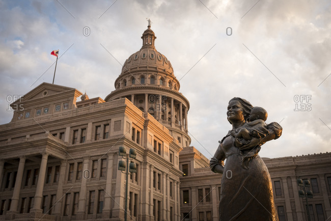 October 23, 2016:  - October 23, 2016: USA- Austin-Statue of a pioneer woman in front of Texas State Capitol- Congress Avenue