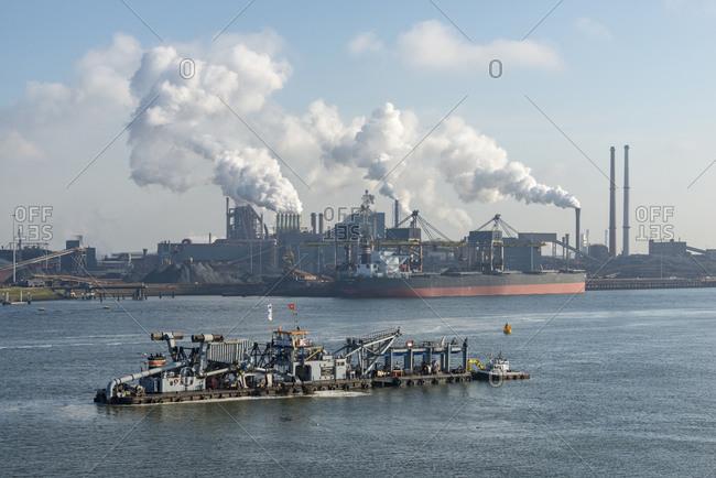 August 27, 2012:  - August 27, 2012: Netherlands- Amsterdam- View of Tata steel plant on North Sea coast