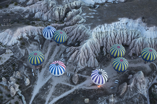 October 22, 2015:  - October 22, 2015: Turkey- Anatolia- Cappadocia- hot air balloons near Goereme over tuff rock landscape