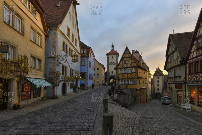 October 30, 2016:  - October 30, 2016: Germany- Rothenburg ob der Tauber- Ploenlein at evening twilight
