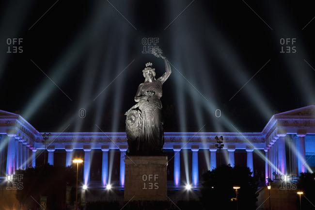October 4, 2010:  - October 4, 2010: Germany- Bavaria- Munich- Illuminated bavaria statue and hall of fame during oktoberfest at night