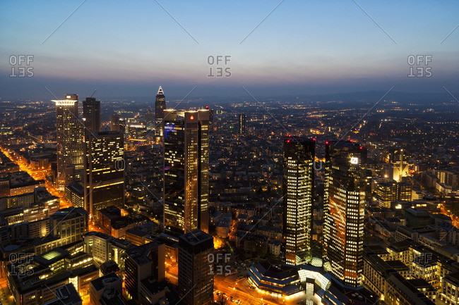 March 29, 2011:  - March 29, 2011: Germany- Franfurt- View of town at night