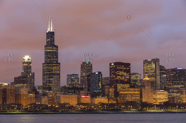April 13, 2013:  - April 13, 2013: USA- Illinois- Chicago- View of Willis Tower at Lake Michigan