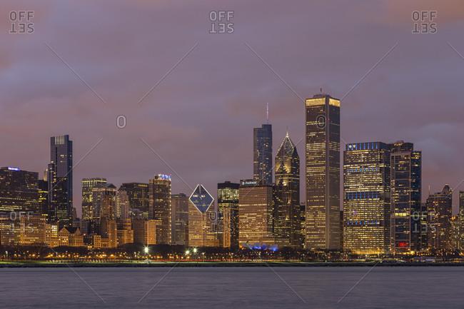 April 13, 2013:  - April 13, 2013: USA- Illinois- Chicago- View of skyline with Lake Michigan