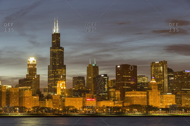 April 15, 2013:  - April 15, 2013: USA- Illinois- Chicago- View of Willis Tower at Lake Michigan