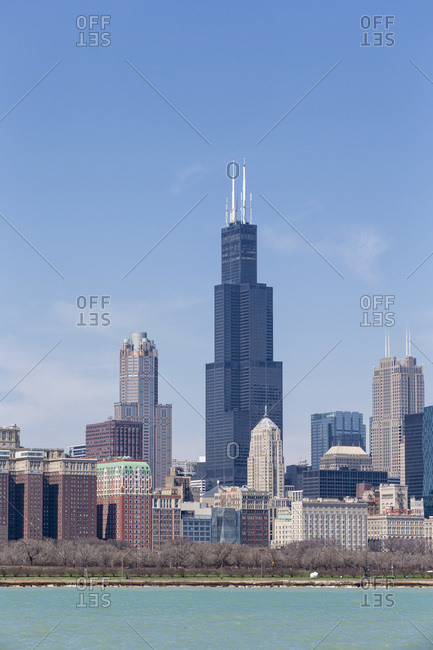 April 14, 2013:  - April 14, 2013: USA- Illinois- Chicago- View of Willis Tower with Lake Michigan