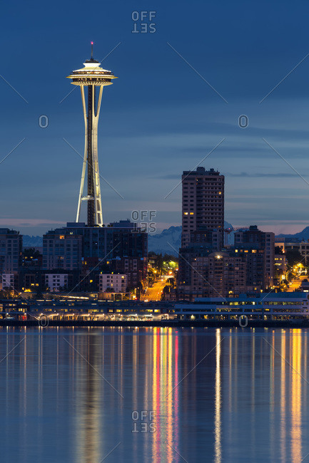 May 22, 2014:  - May 22, 2014: USA- Washington State- Puget Sound and skyline of Seattle with Space Needle at blue hour