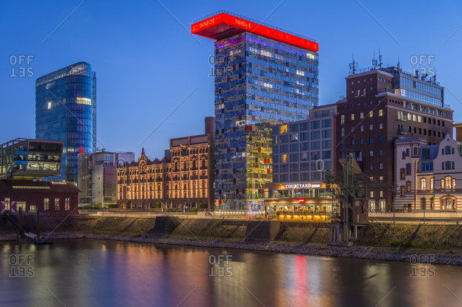 July 9, 2015:  - July 9, 2015: Germany- Duesseldorf- Media harbor- High-rise building Colorium- blue hour