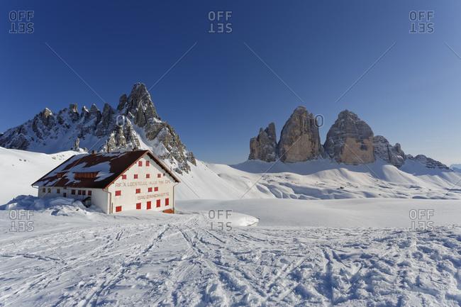 March 29, 2014:  - March 29, 2014: Italy- Alto Adige- Hochpuster Valley- Tre Cime hut with Tre Cime di Lavaredo