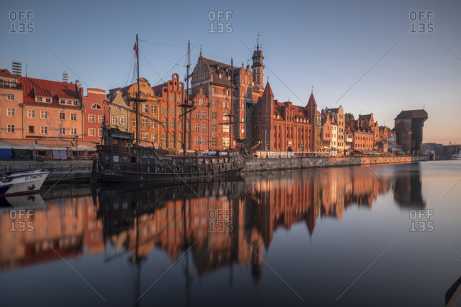 August 6, 2017:  - August 6, 2017: Poland- Gdansk- city view with museum ship on Motlawa river