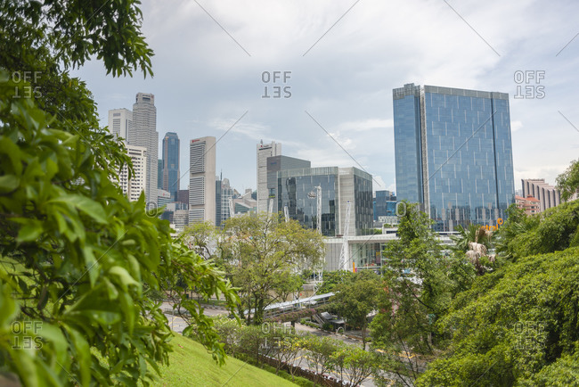 April 11, 2012:  - April 11, 2012: Singapore- downtown- financial district- view from Fort Canning park
