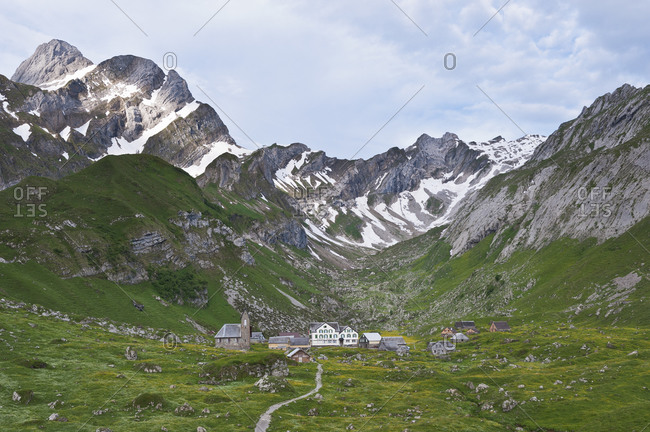 June 5, 2011:  - June 5, 2011: Switzerland- Canton of Appenzell Innerrhoden- View to alpine pasture Meglisalp- settlement