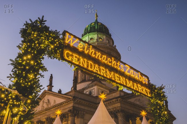 November 27, 2015:  - November 27, 2015: Germany- Berlin- Christmas market at Gendarmenmarkt- French Cathedral in background
