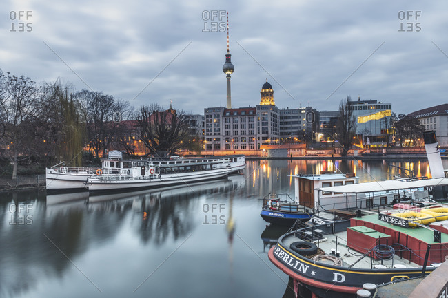 March 2, 2019:  - March 2, 2019: Germany- Berlin-Mitte- Historical harbor- Spree river in the evening- Berlin TV Tower in the background