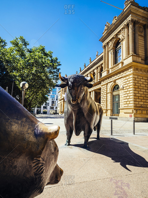 August 8, 2016:  - August 8, 2016: Germany- Frankfurt- bull and bear bronze sculptures at Stock Exchange