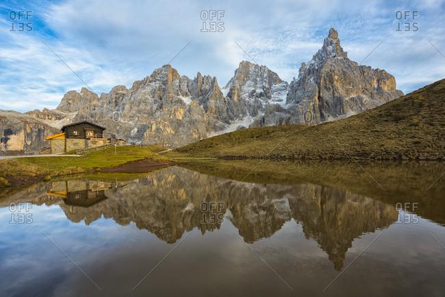 October 28, 2016:  - October 28, 2016: Italy- Trentino- Dolomites- Passo Rolle- Baita Segantini Chalet and Pale di San Martino range