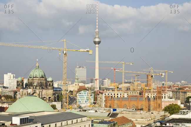 October 5, 2014:  - October 5, 2014: Germany- Berlin- view to  Berliner Dom- television tower and construction cranes