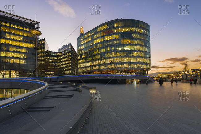 October 26, 2018:  - October 26, 2018: UK- London- modern office buildings at sunset