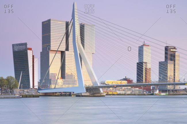 April 18, 2015:  - April 18, 2015: Netherlands- County of Holland- Rotterdam- View to Erasmus bridge and KPN Tower by Renzo Piano De Rotterdam building by Rem Koolhaas