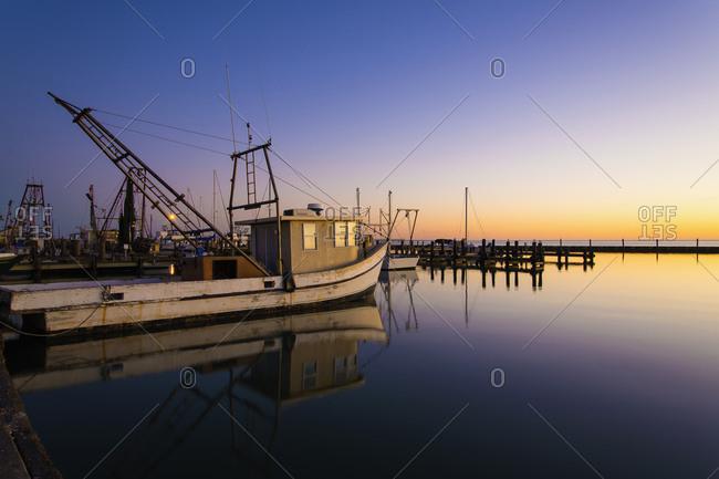 USA- Texas- Rockport Fulton marina at sunset