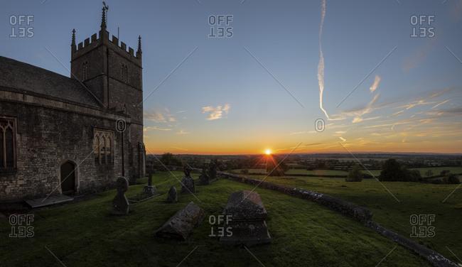 United Kingdom- England- Old Sodbury- Church of Saint John the Baptist at sunset