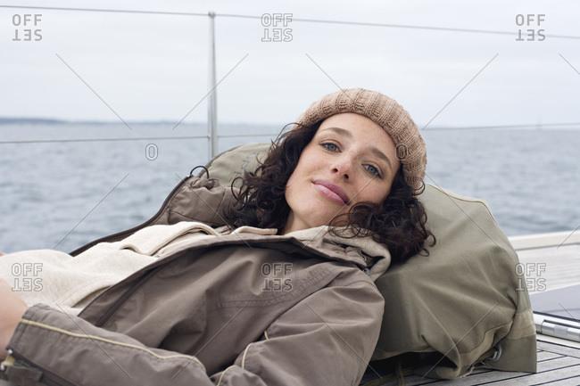 Germany- Baltic Sea- Lubecker Bucht- Woman on boat