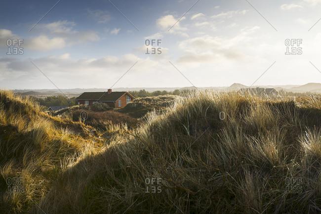 Denmark- Henne Strand- House in the grass dunes