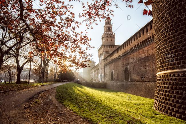 Italy- Milan- Castello Sforzesco at golden hour