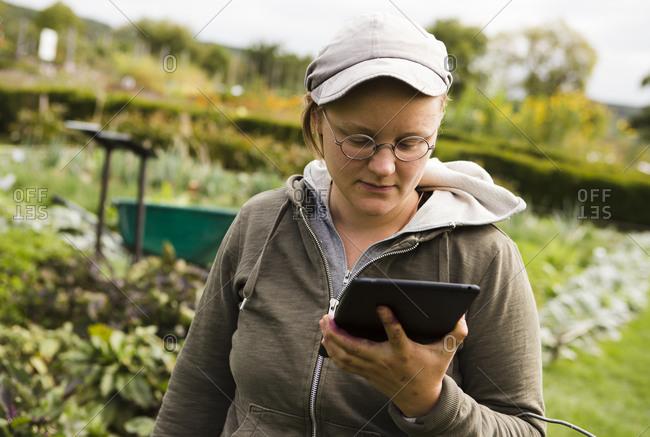 Austria- Schiltern- Alternative gardener with digital tablet