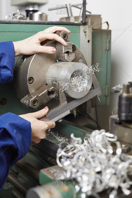 Germany- Kaufbeuren- Woman working in manufacturing industry