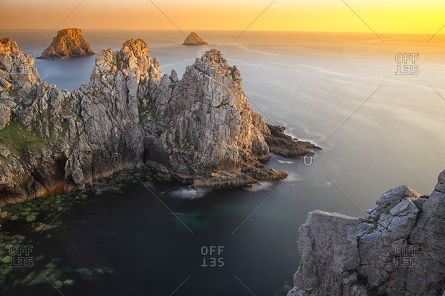 France- Brittany- Pointe de Pen-Hir- Rocky coast in evening light
