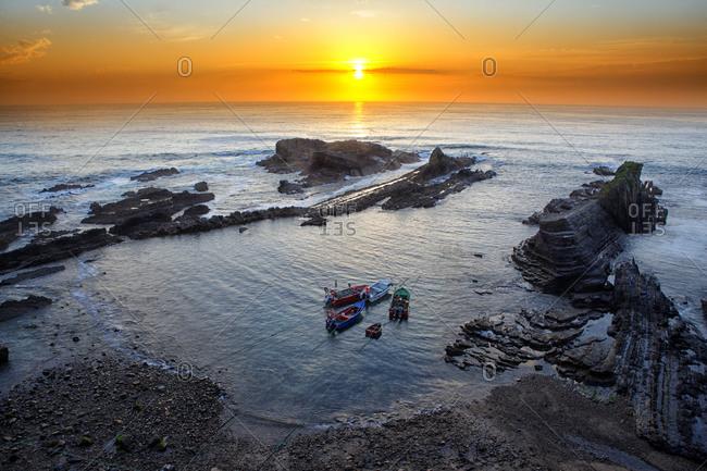 Portugal- Alentejo- Odemira- Rocks at the coast of Lapa das Pombas