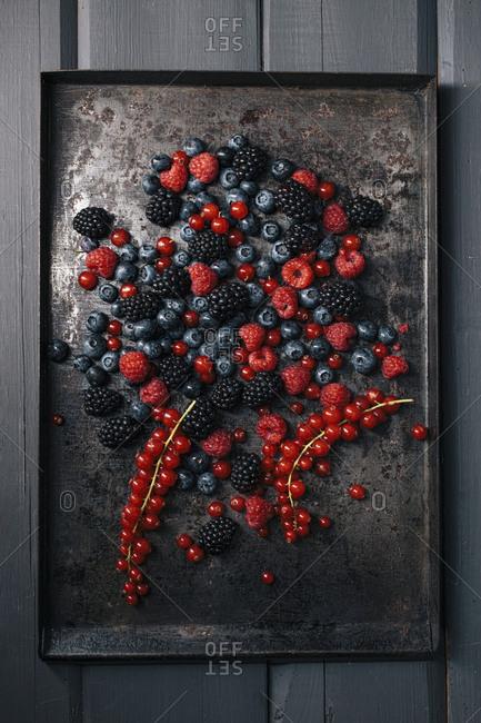 Berries on old metal tray