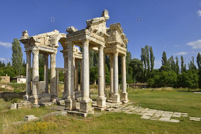 Turkey- Caria- antique Tetrapylon at the archaeological site of Aphrodisias