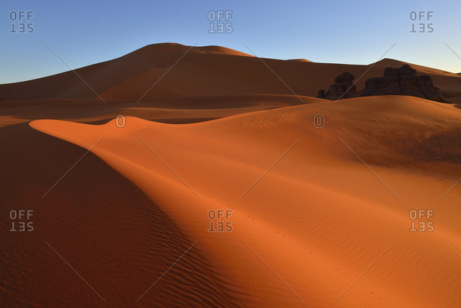 Algeria- Sahara-  Tassili N'Ajjer National Park- Tadrart- morning light on the dunes of Tin Merzouga