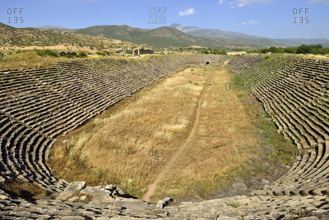 Turkey- Aydin Province- Caria- antique stadium at the archaeological site of Aphrodisias